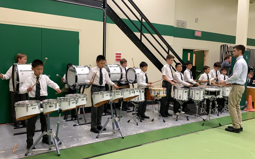 Drumline Rallies the Volleyball Team to Double Header Victories!